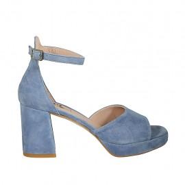 Zapato abierto para mujer con cinturon y plataforma en gamuza de color azul claro tacon 7 - Tallas disponibles:  32, 33, 34, 42, 43, 44, 45
