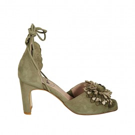 Woman's open shoe with laces and flower in khaki green suede and platinum laminated leather heel 7 - Available sizes:  32, 34, 43, 44, 45
