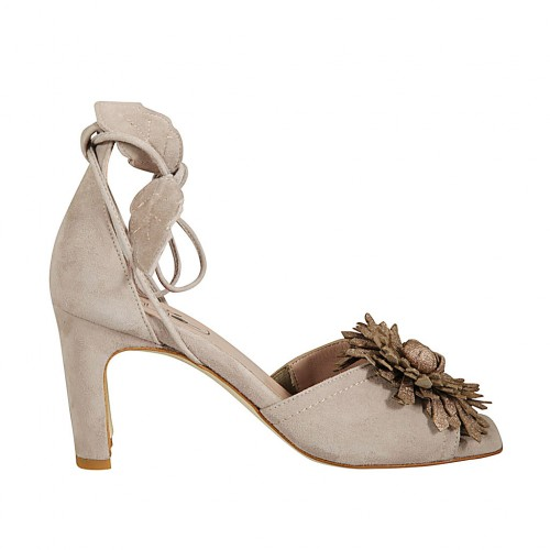 Woman's open shoe with laces and flower in grey suede and bronze laminated leather heel 7 - Available sizes:  33, 34, 43, 45