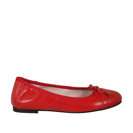 Woman's ballerina shoe with bow and toecap in red leather heel 1 - Available sizes:  45