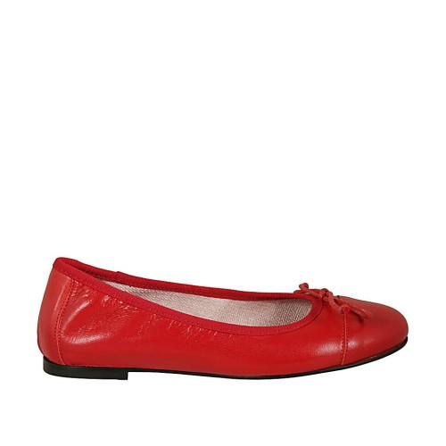 Ballerina da donna con fiocco e puntale in pelle rossa tacco 1 - Misure disponibili: 45, 46