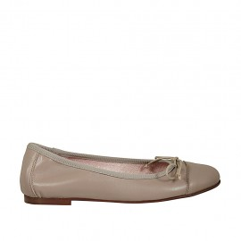 Woman's ballerina shoe with bow and toecap in dove grey leather heel 1 - Available sizes:  33, 46