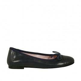 Zapato bailarina para mujer con moño y puntera en piel azul oscuro tacon 1 - Tallas disponibles:  33, 46