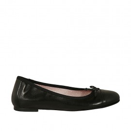 Woman's ballerina shoe with bow and cap toe in black leather heel 1 - Available sizes:  34, 44, 46