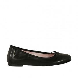 Zapato bailarina para mujer con moño y puntera en piel negra tacon 1 - Tallas disponibles:  33, 34, 42, 43, 44, 46