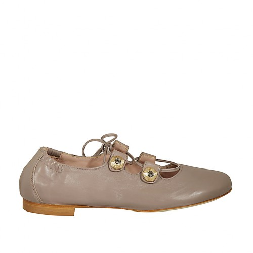 Woman's ballerina shoe with buttons with rhinestones and laces in dove grey leather heel 1 - Available sizes:  43, 44, 46