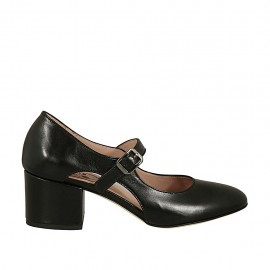 Woman's pump with strap and sidecuts in black leather heel 5 - Available sizes:  32, 33, 34, 42, 43, 44, 45