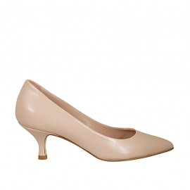 Woman's pump in nude leather heel 5 - Available sizes:  32, 33, 34, 42, 43, 44, 45