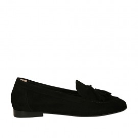 Woman's mocassin with tassels in black suede heel 1 - Available sizes:  32, 33, 34, 43, 44, 45, 46