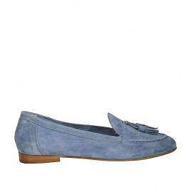 Woman's mocassin with tassels in light blue suede heel 1 - Available sizes:  32, 34, 43, 46