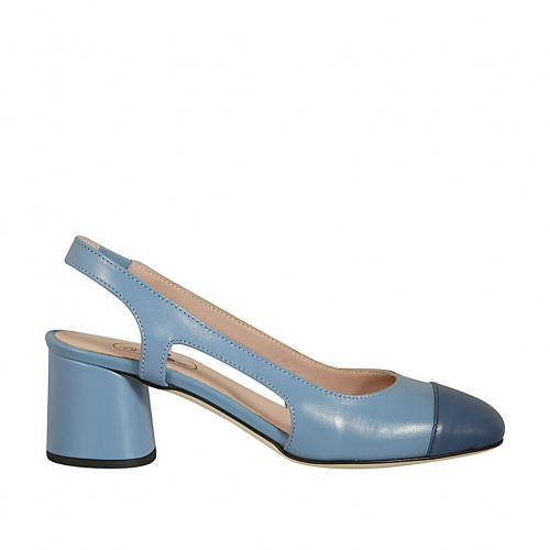 Woman's slingback pump in light blue leather with blue toecap and elastic heel 5 - Available sizes:  44, 45
