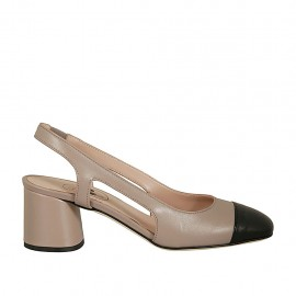 Woman's slingback pump in dove grey leather with black toecap and elastic band heel 5 - Available sizes:  34, 43, 45