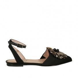Chanel da donna in tessuto rigato nero e pelle nera con fiore in pelle nera e grigia e cinturino tacco 1 - Misure disponibili: 33, 42