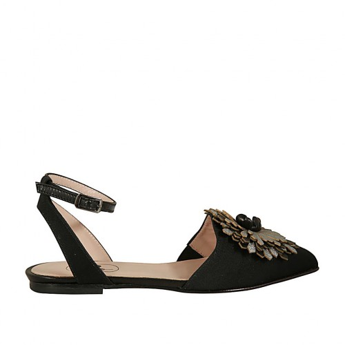 Woman's slingback shoe in black striped fabric and leather with flower in grey and black leather and anklestrap heel 1 - Available sizes:  33