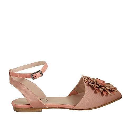 Woman's slingback shoe in rose striped fabric and leather with flower in rose and beige leather and anklestrap heel 1 - Available sizes:  33