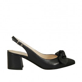 Woman's slingback pump with bow in dark blue leather heel 5 - Available sizes:  33, 34, 42, 43, 44, 45