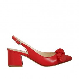 Woman's slingback pump with bow in red leather heel 5 - Available sizes:  32, 43