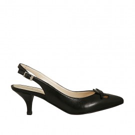 Woman's slingback pump with bow in black leather heel 5 - Available sizes:  42, 45
