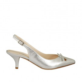 Woman's slingback pump with bow in laminated silver leather heel 5 - Available sizes:  32, 33, 34, 45