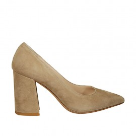 Woman's pointy pump in taupe suede block heel 8 - Available sizes:  32, 33, 34, 42, 43, 44, 45