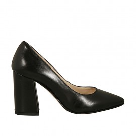 Woman's pointy pump in black leather block heel 8 - Available sizes:  32, 33, 34, 42, 43, 44, 45