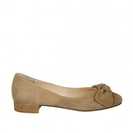 Bailarina para mujer con moño en gamuza gris pardo tacon 2 - Tallas disponibles:  33, 44