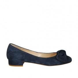 Bailarina para mujer con moño en gamuza azul tacon 2 - Tallas disponibles:  33, 34, 42, 43, 44, 45