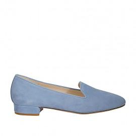 Zapato mocasino para mujer en gamuza color azul claro tacon 2 - Tallas disponibles:  33