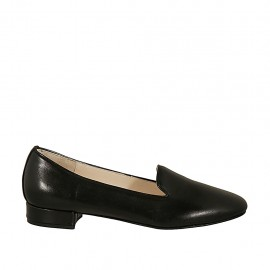 Woman's mocassin in black leather heel 2 - Available sizes:  33, 43, 44