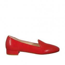 Zapato mocasino para mujer en piel color rojo tacon 2 - Tallas disponibles:  33, 45