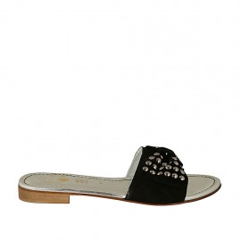 Offene Damenpantolette mit Schleife und Nieten aus schwarzem Wildleder Absatz 2 - Verfügbare Größen:  42, 43, 44, 45