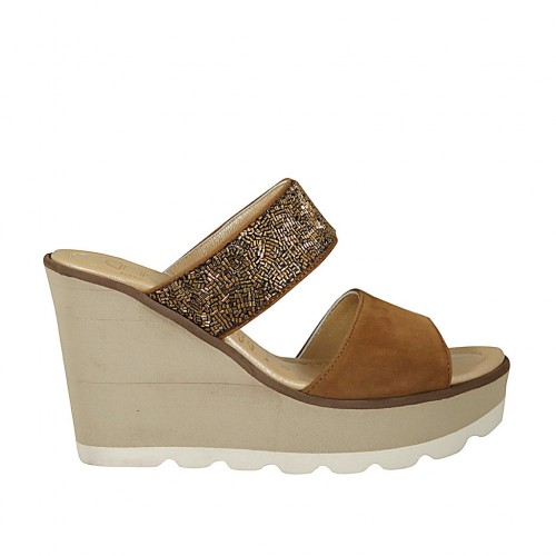 Woman's open mules with side elastic in tobacco suede and bronze cylindrical perls wedge heel 9 - Available sizes:  42