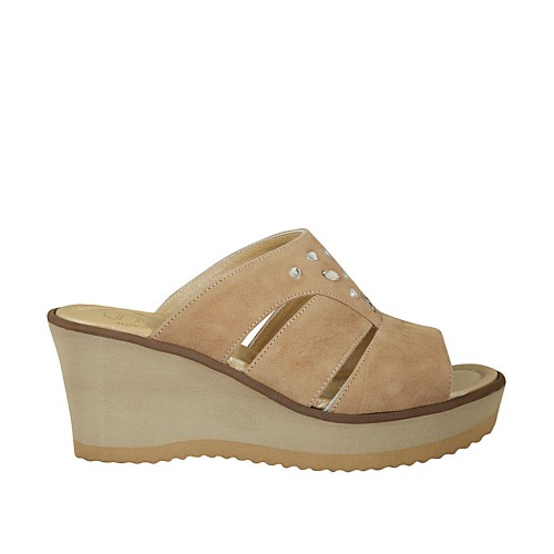 Woman's highfronted open mules with rhinestones in beige suede with platform and wedge heel 7 - Available sizes:  45