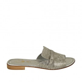 Woman's mules with buckle in silver printed laminated leather heel 2 - Available sizes:  42, 43, 44, 45, 46