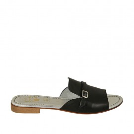 Woman's mules with buckle in black leather heel 2 - Available sizes:  42, 43, 44, 45, 46