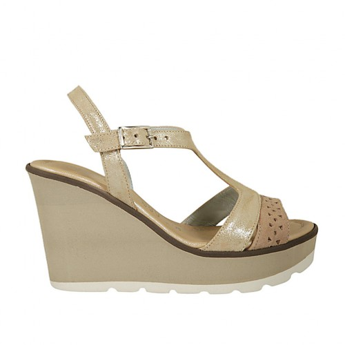 Woman's sandal in beige pierced suede and platinum laminated leather with strap wedge 9 - Available sizes:  45
