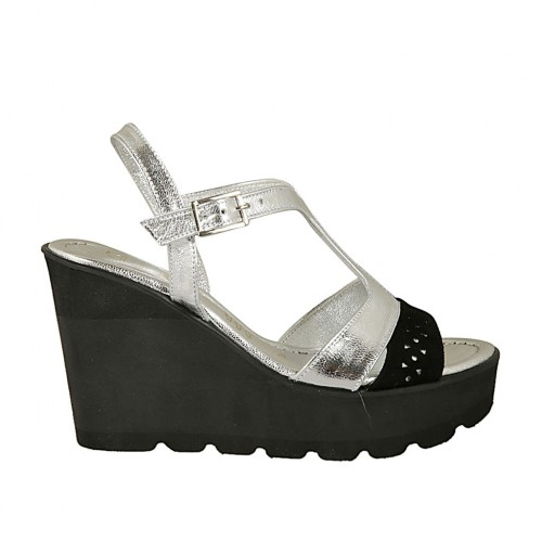 Woman's sandal in black pierced suede and silver laminated leather with strap wedge 9 - Available sizes:  31, 42, 43, 45