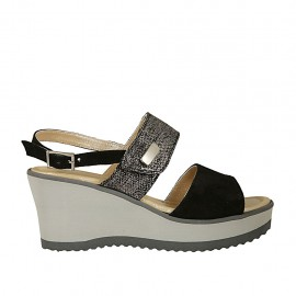 Woman's sandal in black suede and silver laminated suede with velcro strap, platform and wedge 6 - Available sizes:  42, 44, 45