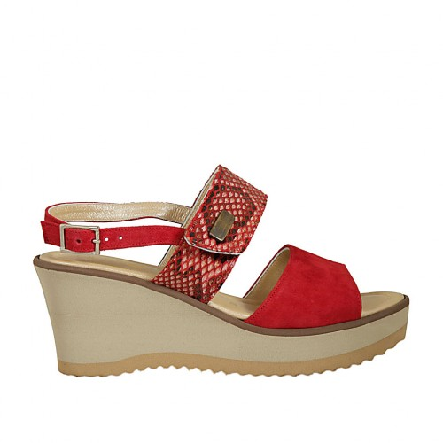 Woman's sandal in red suede and printed suede with velcro strap, platform and wedge 6 - Available sizes:  42, 43, 44, 45