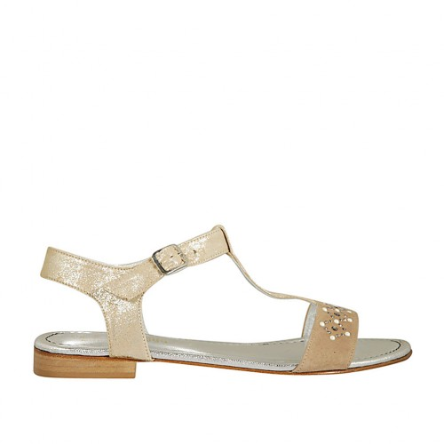 Woman's T-strap sandal in beige and platinum laminated suede with pearls and rhinestones heel 2 - Available sizes:  42, 43