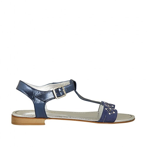 Woman's T-strap sandal in blue suede and laminated leather with pearls and rhinestones heel 2 - Available sizes:  42, 43