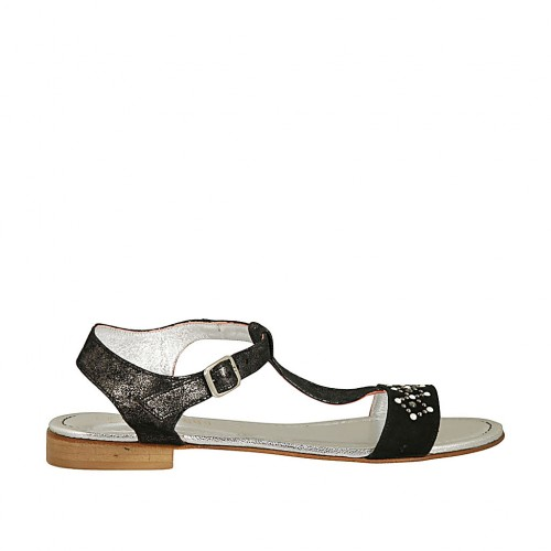 Woman's T-strap sandal in black laminated suede with pearls and rhinestones heel 2 - Available sizes:  42, 43, 44