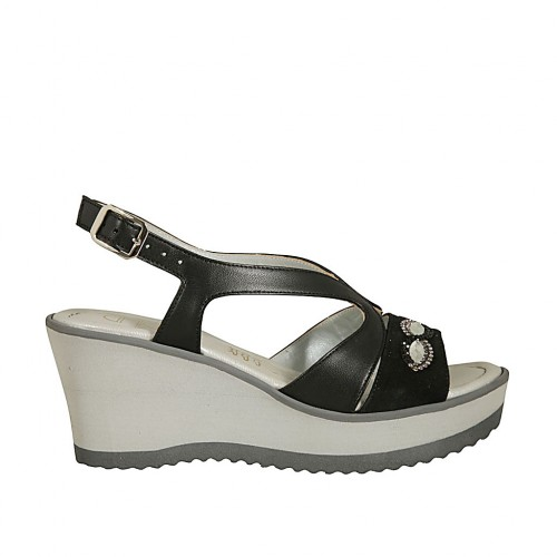 Woman's sandal in black leather and suede with rhinestones, platform and wedge heel 6 - Available sizes:  45