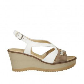 Woman's sandal in white leather and taupe suede with rhinestones, platform and wedge heel 6 - Available sizes:  34, 42, 43, 44, 45