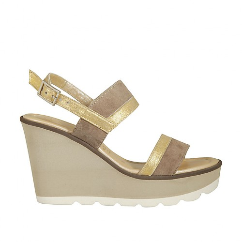 Woman's sandal in taupe and golden laminated suede wedge heel 9 - Available sizes:  42, 44