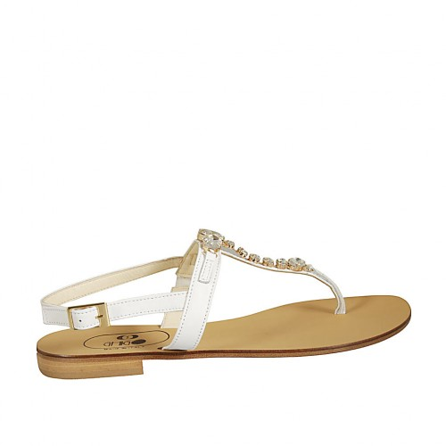 Woman's flip-flop sandal in white leather with rhinestones heel 2 - Available sizes:  42