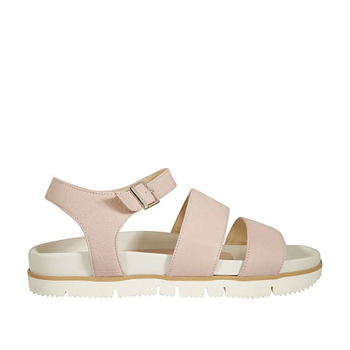 Woman's sandal with strap in rose nubuck leather wedge heel 2 - Available sizes:  42, 44
