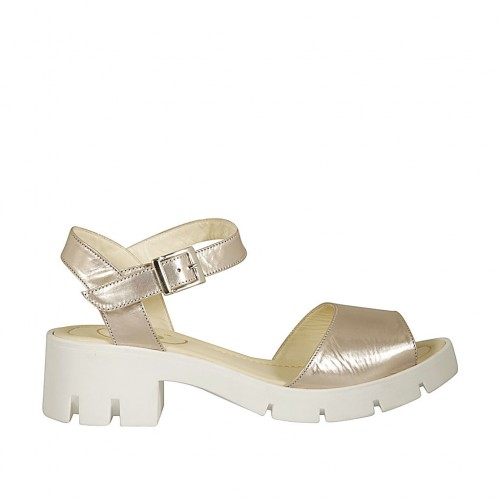 Woman's strap sandal in powder rose laminated leather heel 5 - Available sizes:  45