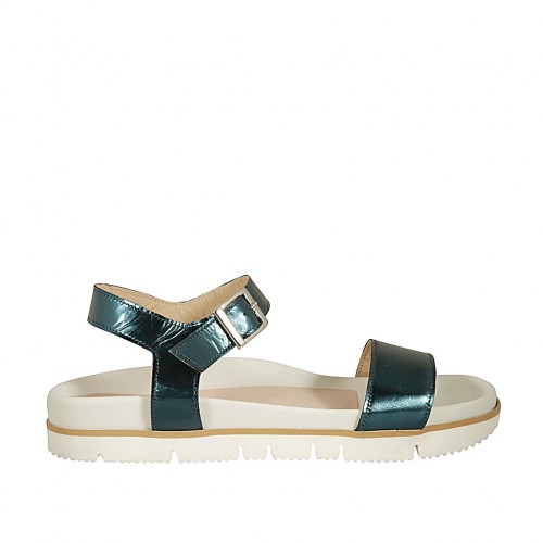 Woman's strap sandal in petrol laminated leather wedge 2 - Available sizes:  42, 43, 44, 45