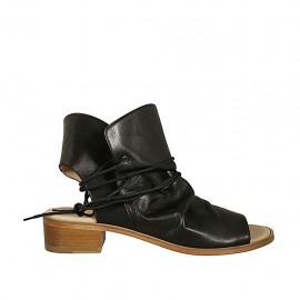 Sandalia de parte frontal alta para mujeres con cordones en piel negra tacon 4 - Tallas disponibles:  42, 43, 44, 45, 46